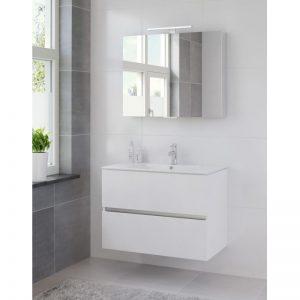 Bruynzeel Miko meubelset 91 cm.met spiegelkast en led verlichting mat wit