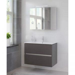 Bruynzeel Miko meubelset 91 cm.met spiegelkast en led verlichting grafiet