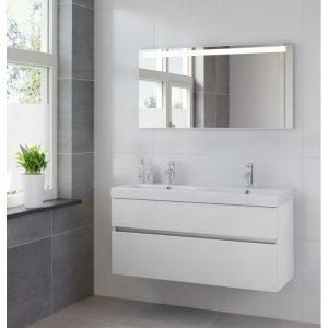 Bruynzeel Nano badmeubel set 120cm dubbele wastafel & spiegel