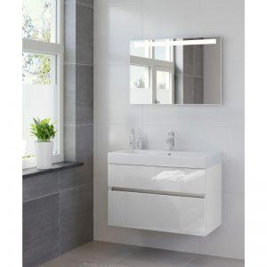 Bruynzeel Nano badmeubel set 90cm met spiegel hoogglans wit