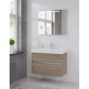 Bruynzeel Nano meubelset 90 cm.met spiegel en keram.wastafel tortona