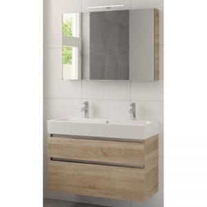 Bruynzeel Passo meubelset 100cm. met spiegel-wastafel 2xkraangat bardolino