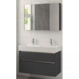 Bruynzeel Passo meubelset 100cm. met spiegel-wastafel 2xkraangat grafiet
