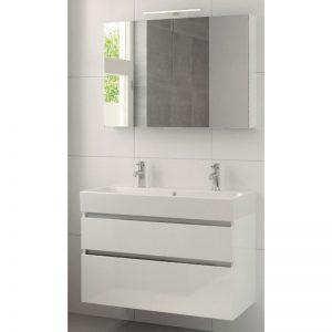 Bruynzeel Passo meubelset 100cm. met spiegel-wastafel 2xkraangat wit glanzend