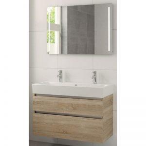 Bruynzeel Passo meubelset 100cm. spiegel-wastafel 2xkraangat bardolino