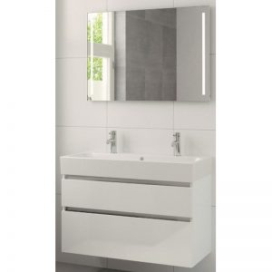 Bruynzeel Passo meubelset 100cm. spiegelkast-wastafel 2xkraangat wit glanzend