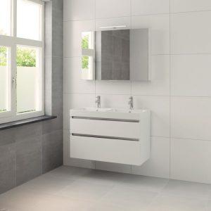 Bruynzeel Pinto meubelset 100cm.met dubb.wastafel-spiegelkast-led mat wit