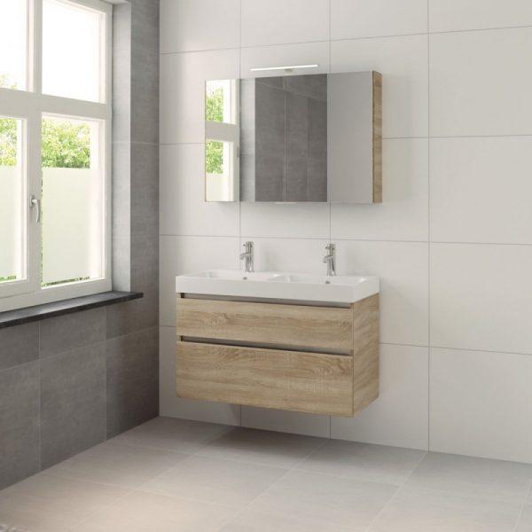Bruynzeel Pinto meubelset 100cm.met dubb.wastafel-spiegelkast-led bardolino