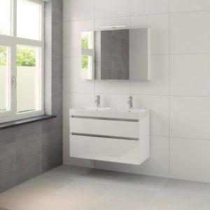 Bruynzeel Pinto meubelset 100cm.met dubb.wastafel-spiegelkast-led wit glanzend