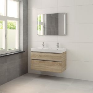 Bruynzeel Pinto meubelset 100cm.met dubbele wastafel-spiegel-led bardolino