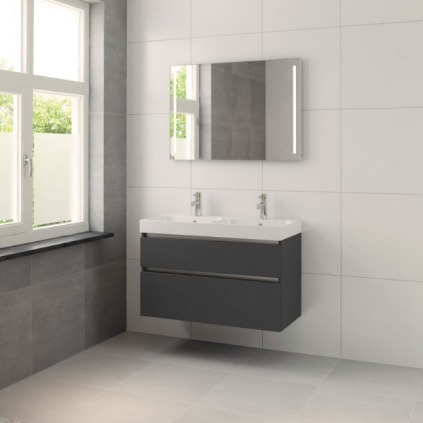 Bruynzeel Pinto meubelset 100cm.met dubbele wastafel-spiegel-led grafiet