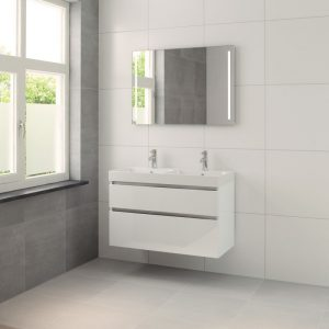 Bruynzeel Pinto meubelset 100cm.met dubbele wastafel-spiegel-led wit glanzend