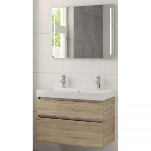Bruynzeel Pinto meubelset 90 cm. met spiegel-wastafel 2xkraangat bardolino