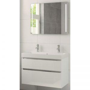 Bruynzeel Pinto meubelset 90 cm. met spiegel-wastafel 2xkraangat wit glanzend