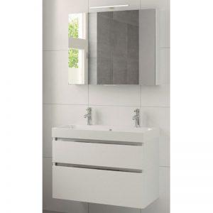 Bruynzeel Pinto meubelset 90cm.met spiegelkast-wastafel 2xkraangat mat wit