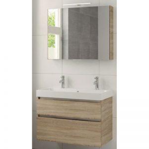 Bruynzeel Pinto meubelset 90cm.met spiegelkast-wastafel 2xkraangat bardolino