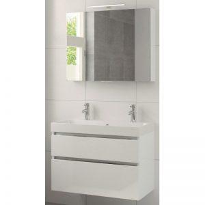 Bruynzeel Pinto meubelset 90cm.met spiegelkast-wastafel 2xkraangat wit glanzend