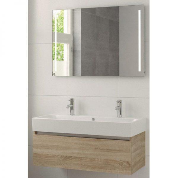 Bruynzeel Uno meubelset 100 cm. met spiegel-wastafel 2xkraangat bardolino