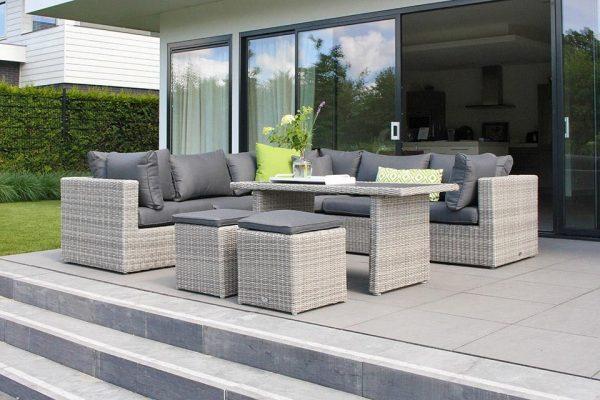 SUNS Lounge-Diningset Alicante XL Halfmoon White Grey Fonteyn