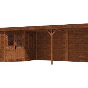 Tuinhuis/Blokhut Fonteyn Module Vijfhoek platdak Hogedruk geimpregneerd 800x 300