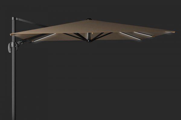 Zweefparasol 300 x 300 cm Solarflex T2 Glow Taupe Platinum