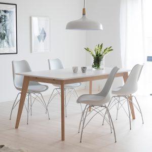 Interstil Eettafel 'Century' wit/eiken, 160 x 90cm