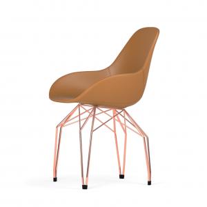 Kubikoff Diamond stoel - Dimple POP shell - Leer - Koper onderstel -