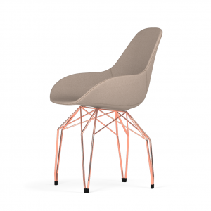 Kubikoff Diamond stoel - Dimple POP shell - Stof - Koper onderstel -