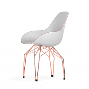 Kubikoff Diamond stoel - Dimple Tailored shell - Leer - Koper onderstel -