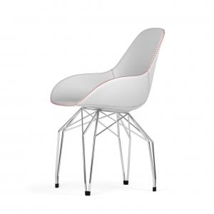 Kubikoff Diamond stoel - Dimple Tailored shell - Leer - Chroom onderstel -