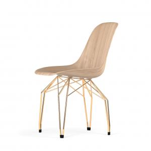 Kubikoff Diamond stoel - W9 Side Chair Shell - Goud onderstel -