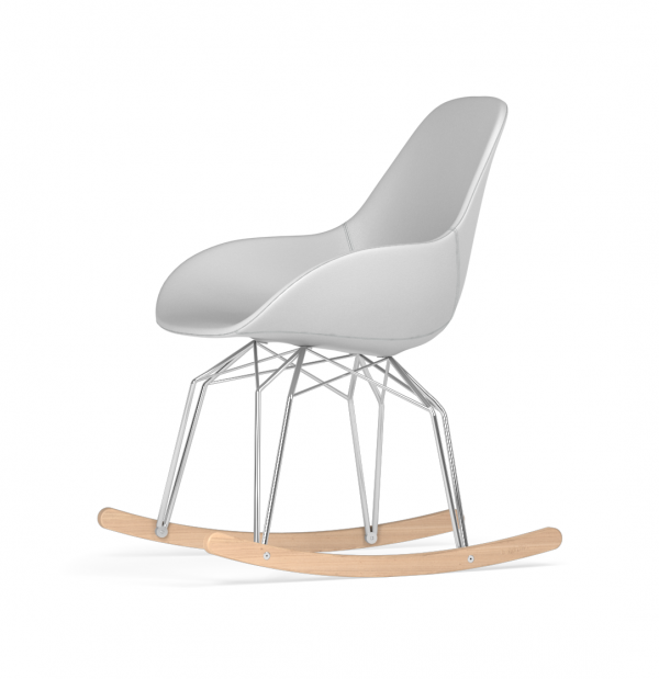 Kubikoff Diamond schommelstoel - Dimple POP - Kunstleer - Chroom met eiken onderstel -