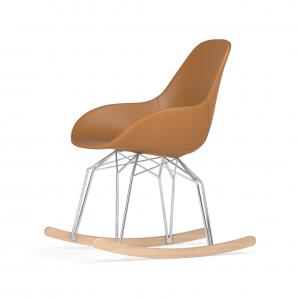 Kubikoff Diamond schommelstoel - Dimple POP - Leer - Chroom met eiken onderstel -