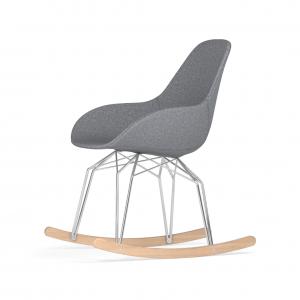 Kubikoff Diamond schommelstoel - Dimple POP - Stof - Chroom met eiken onderstel -