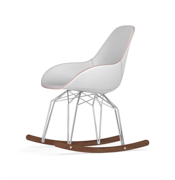 Kubikoff Diamond schommelstoel - Dimple Tailored - Leer - Chroom met walnoten onderstel -