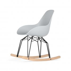 Kubikoff Diamond schommelstoel - Dimple Closed - Zwart met eiken onderstel -