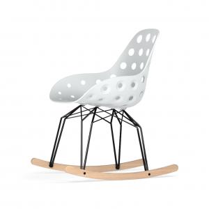 Kubikoff Diamond schommelstoel - Dimple Holes - Zwart met eiken onderstel -