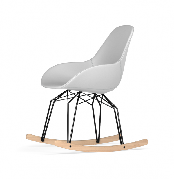 Kubikoff Diamond schommelstoel - Dimple POP - Kunstleer - Zwart met eiken onderstel -