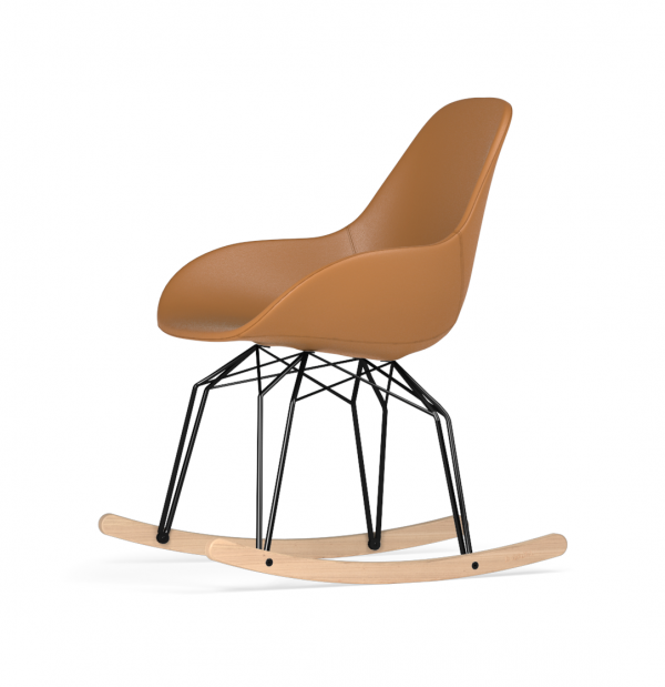 Kubikoff Diamond schommelstoel - Dimple POP - Leer - Zwart met eiken onderstel -