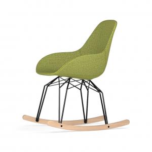 Kubikoff Diamond schommelstoel - Dimple POP - Stof - Zwart met eiken onderstel -