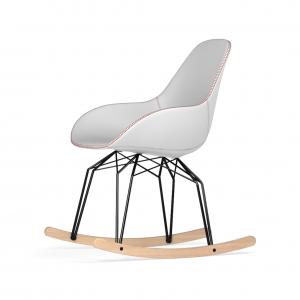 Kubikoff Diamond schommelstoel - Dimple Tailored - Leer - Zwart met eiken onderstel -