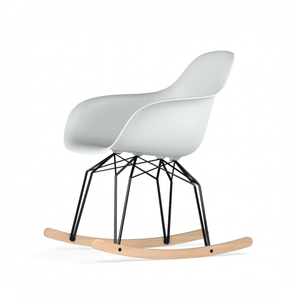 Kubikoff Diamond schommelstoel - V9 Armshell - Zwart met eiken onderstel -