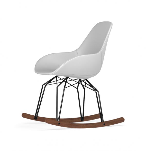 Kubikoff Diamond schommelstoel - Dimple POP - Kunstleer - Zwart met walnoten onderstel -
