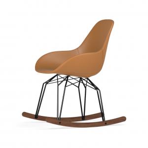 Kubikoff Diamond schommelstoel - Dimple POP - Leer - Zwart met walnoten onderstel -