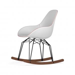 Kubikoff Diamond schommelstoel - Dimple Tailored - Leer - Zwart met walnoten onderstel -