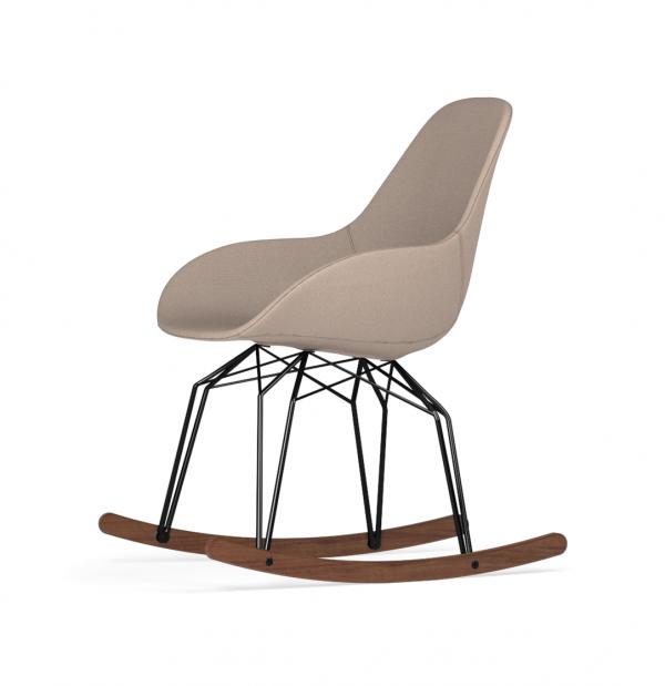 Kubikoff Diamond schommelstoel - Dimple POP - Stof - Zwart met walnoten onderstel -