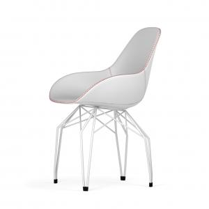 Kubikoff Diamond stoel - Dimple Tailored shell - Leer - Wit onderstel -
