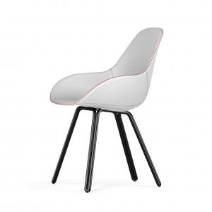Kubikoff Double stoel - Dimple Tailored shell - Leer - Zwart onderstel -