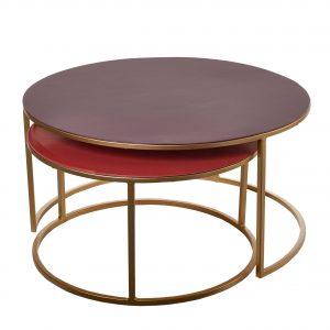 Pols Potten Enamel salontafel set van 2 rood/donkerrood