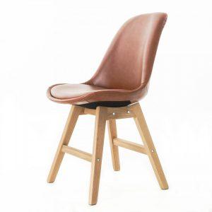 Essence Drevo stoel - Kunstleren zitting - Houten onderstel - kuipstoel ? Scandinavisch ? design - eetkamerstoel